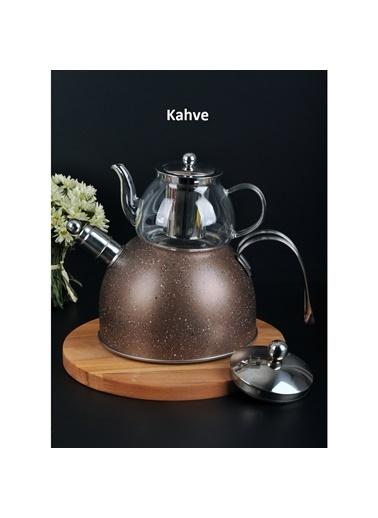 Paçi pacı-granıtcaydanlık Paçi Granit Düdüklü Cam Çaydanlık - 3 Renk Seçeneği İle Kahve